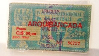 1950 FIFA World Cup - Ticket for the 1950 World Cup's decisive match between Brazil and Uruguay.
