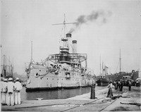 Iowa (BB4). Port bow, entering drydock, 09-01-1898 - NARA - 535433.tif