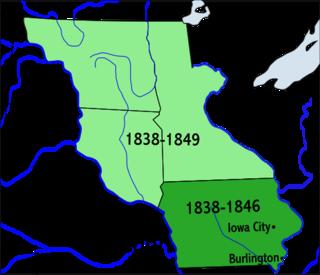 Iowa Territory territory of the USA between 1838-1846