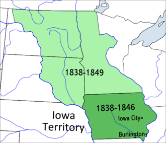 Iowa Territory - The territory that did not become the state of Iowa in 1846 became unorganized territory. Government for this area would become organized as part of the Minnesota Territory in 1849.