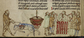 Topographia Hibernica - Image: Irish kingship ritual Topographia Hibernica (c.1220), f.28v BL Royal MS 13 B VIII