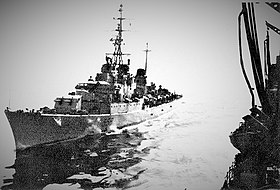 Italian destroyer Impetuoso (D558) comes alongside USS Kalamazoo (AOR-6) in the Mediterranean Sea, in June 1977.jpg