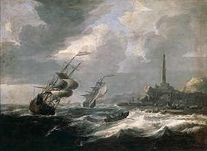 Jan Theunisz Blanckerhoff - Seascape with lighthouse of Genoa.