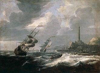 Jan Theunisz Blanckerhoff - Seascape with lighthouse of Genoa.