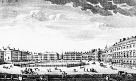 St. James's Square in the 1750s: Brettingham designed Norfolk House on the far right.