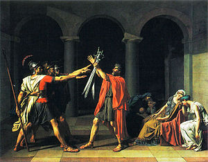 Il giuramento degli orazi , 1785, parigi, louvre