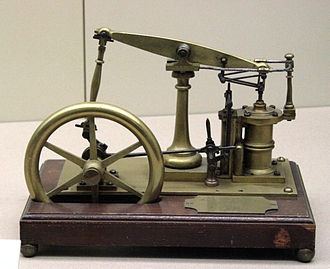 Steam engine - A model of a beam engine featuring James Watt's parallel linkage for double action.