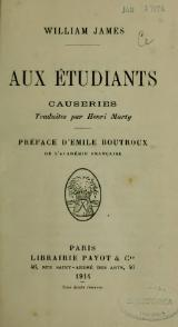 James - Aux étudiants, trad. Marty, 1914.djvu