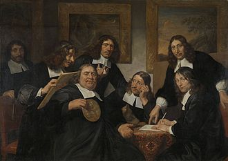 Dutch Golden Age painting - The Haarlem Painter's Guild in 1675, by  Jan de Bray, whose self-portrait is the second from the left