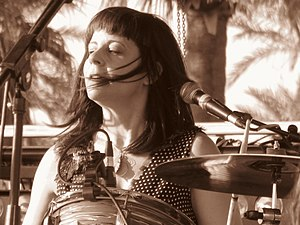 Janet Weiss - Janet Weiss performing with Wild Flag at Coachella 2012.