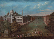 The old Hippodrome of Constantinople with the Blue Mosque on the left side. Painting by Jean-Baptiste van Mour, first half of 18th century