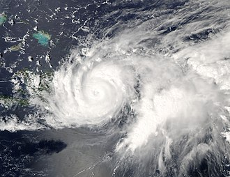 Hurricane Jeanne - Hurricane Jeanne making landfall on the east coast of Hispaniola, September 16.