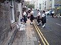Jedbrugh pipe band entering the Canon pub.jpg