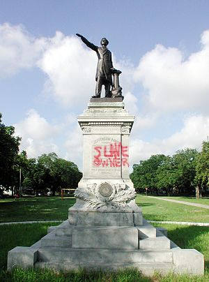 "Jefferson Davis Monument - ""Slave owner"" vandalism"