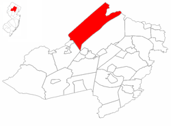 Jefferson Township highlighted in Morris County. Inset map: Morris County highlighted in the State of New Jersey.