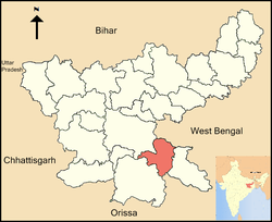 Location of Seraikela-Kharsawan district in Jharkhand