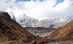 Mount Jitchu Drake - Jitchu Drakye from bridge above Jangothang