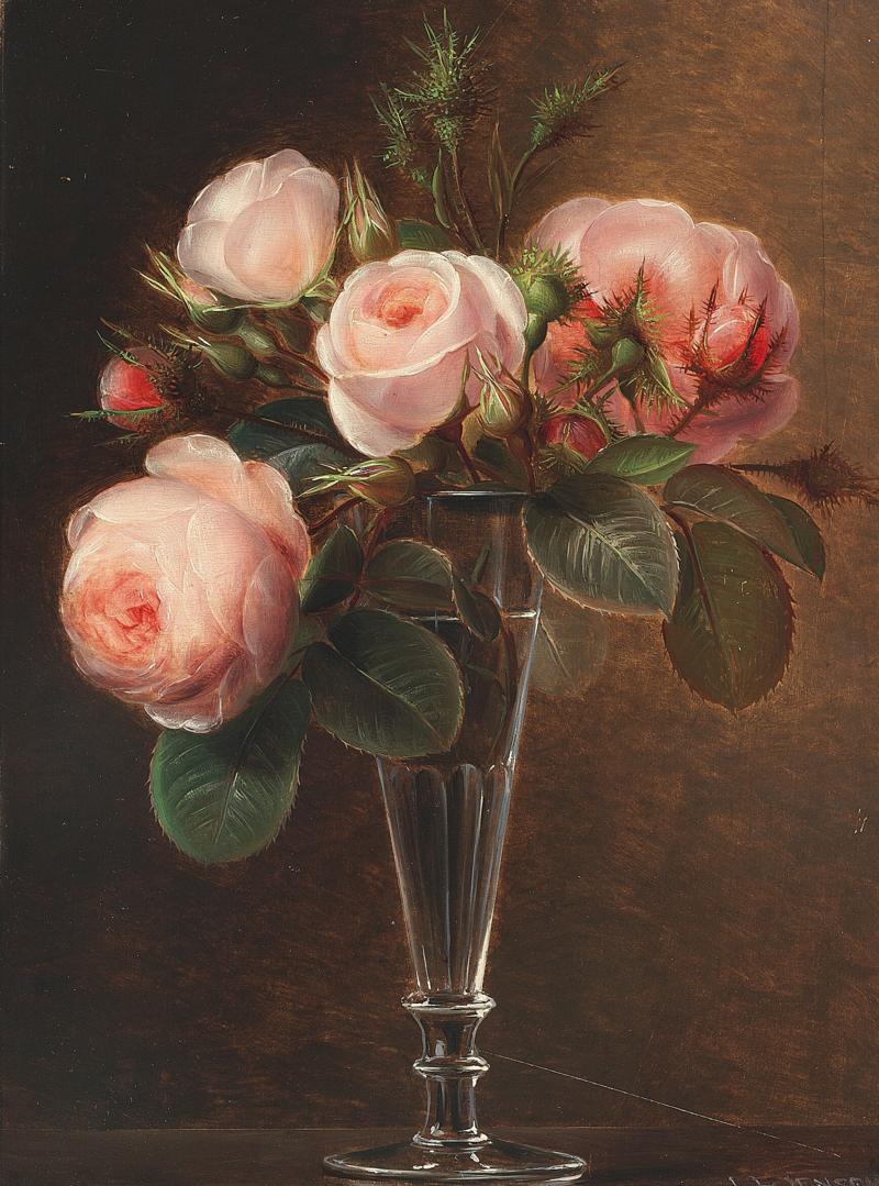 Johan Laurentz Jensen - Lyserøde roser i et champagneglas.png
