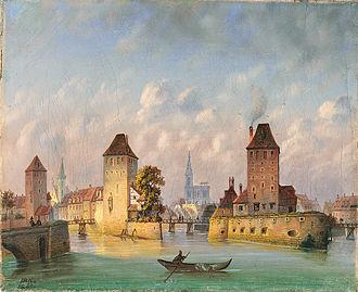 Ponts Couverts, Strasbourg - Image: Johann Baptist Kreitmayer Straßburg 1863