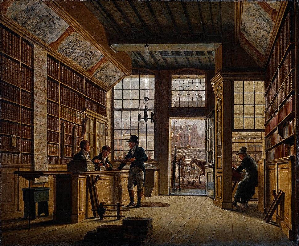 Johannes Jelgerhuis - De winkel van boekhandelaar Pieter Meijer Warnars op de Vijgendam te Amsterdam