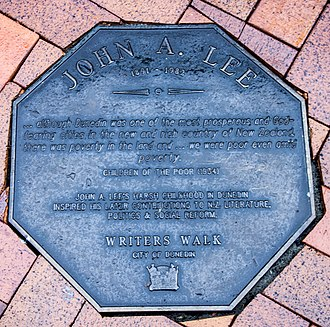Memorial plaque dedicated to John A. Lee in Dunedin, on the Writers' Walk on the Octagon John A. Lee memorial plaque in Dunedin.jpg