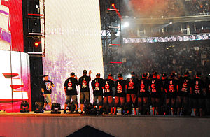 WrestleMania XXV - John Cena, seen here making his entrance at WrestleMania XXV, challenged Edge and Big Show for the World Heavyweight Championship