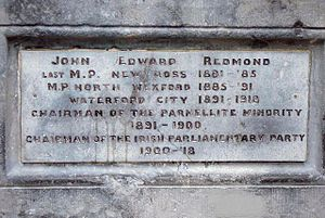 John Redmond - John Redmond plaque, Redmond Square, base of the Redmond monument, Wexford
