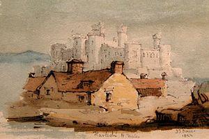Leominster Museum - Harlech Castle, by John Scarlett Davis, at the Museum