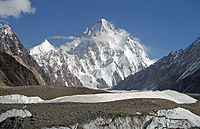 K2, at 8,611 metres (28,251 ft), is the second highest peak in the world.