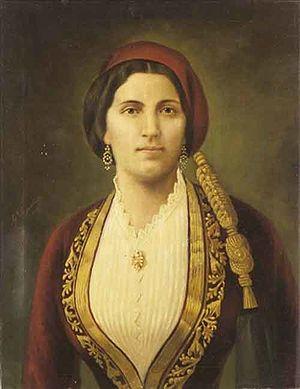 Spyridon Prosalentis - Portrait of Kalidona Trikoupis, Themistoklis' wife.
