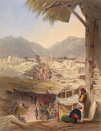 Durrani Empire - City of Kandahar, its principal bazaar and citadel, taken from the Nakkara Khauna