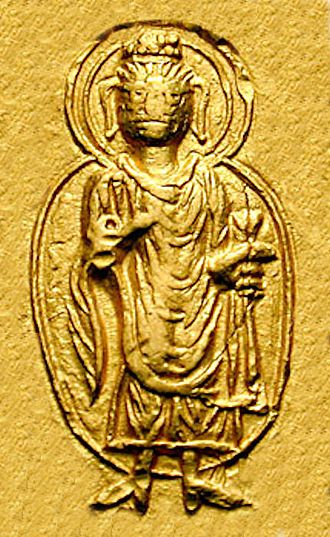 """Mathura art - Depiction of the Buddha (with legend ΒΟΔΔΟ """"Boddo"""") in Kanishka's coinage."""