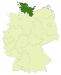 Map of Germany:Position of Schleswig-Holstein highlighted