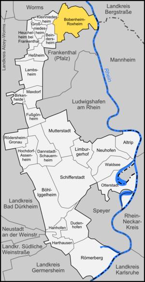Bobenheim-Roxheim - Image: Karte Bobenheim Roxheim