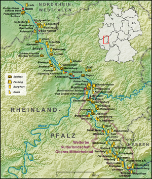 Middle Rhine Valley Travel Guide At Wikivoyage - Rhine valley germany map