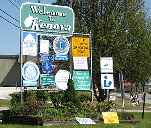 Kenova, West Virginia - A sign welcoming motorists to Kenova along U.S. Route 60.