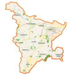 """Mapa konturowa gminy Kietrz, na dole po prawej znajduje się punkt z opisem """"Ściborzyce Wielkie"""""""