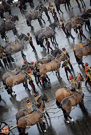 St John's Wood Barracks - The King's Troop Royal Horse Artillery form up for their final parade at St John's Wood