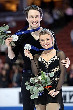 Kirsten Moore-Towers and Michael Marinaro at the 2019 Four Continents Championships - Awarding ceremony.jpg