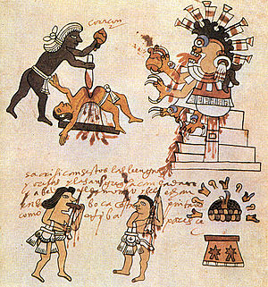 Cannibalism in pre-Columbian America - Aztecs sacrificing a victim and bleeding their tongue and ears.