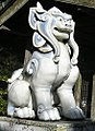 Komainu at Tozan Shrine in Arita, Saga Prefecture, made of porcelain.jpg