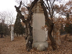 Turtleback tomb - A typical 15th-century bixi, near the tomb of Kong Hongtai, 61st-generation Duke Yansheng, in the Cemetery of Confucius, Qufu. In this traditional layout, the bixi is at the beginning of the spirit way, and the grave tumulus, at the end of it.