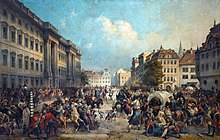 Painting of Austrian and Russian cavalry in the streets of Berlin, surrounded by frightened civilians