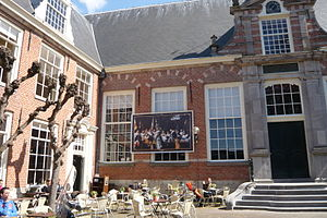 The Officers of the St Adrian Militia Company in 1633 - View of a life-size reproduction of this painting decorating the old meeting hall at what is today the Haarlem Public Library.