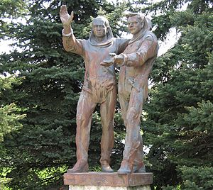 Vladimír Remek - Statue of Remek and Gubarev in Košice