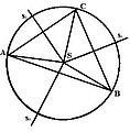 Krug opisan oko ostrouglog trougla sa simetralama.jpg