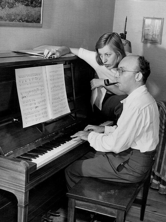 Lotte Lenya and Kurt Weill at a piano in New York, 1942