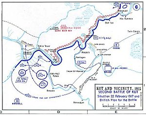 7th Indian Cavalry Brigade - Situation at Kut on 22 February 1917.