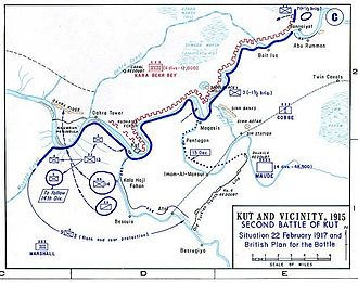 6th Indian Cavalry Brigade - Situation at Kut on 22 February 1917.