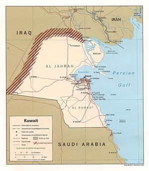 Iraq–Kuwait barrier - Map of Kuwait showing the Kuwait-Iraq barrier.